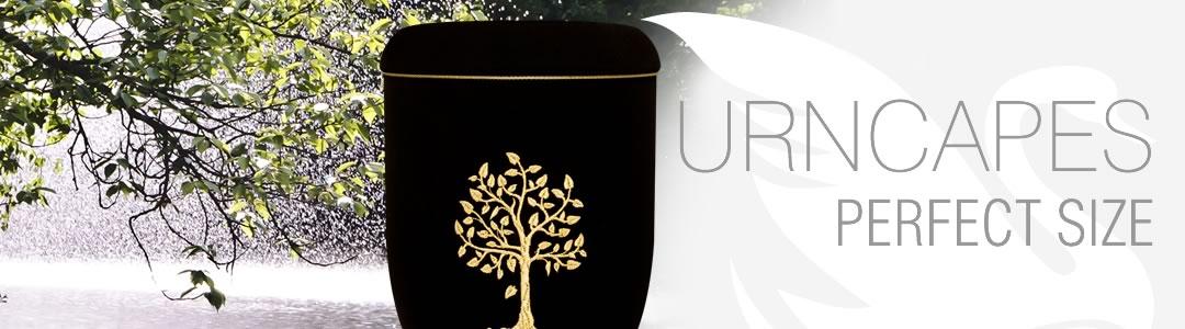 Schöne Urne mit Stickmotiv Baum des Lebens